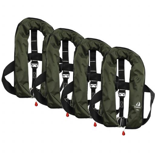 4er-Set 12skipper Automatik-Rettungsweste 165N ISO mit Harness, olive