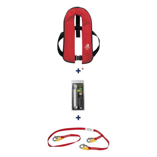 Set: 12skipper Automatik-Rettungsweste 300N ISO Harness rot mit Marinepool Lifeline und Wartungskit