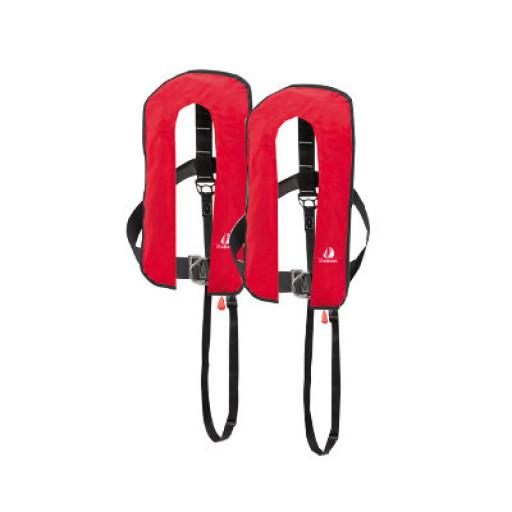 2er-Set 12skipper Automatik-Rettungsweste 300N ISO mit Harness, rot
