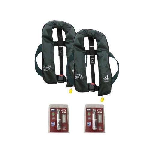 2er-Set 12skipper Rettungsweste 165N ISO mit manueller Auslösung, olive inkl. 2 Wartungskits