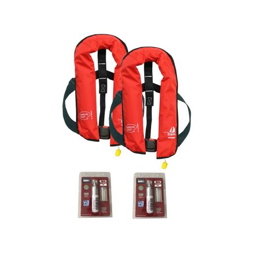 2er-Set 12skipper Rettungsweste 165N ISO mit manueller Auslösung, rot inkl. 2 Wartungskits