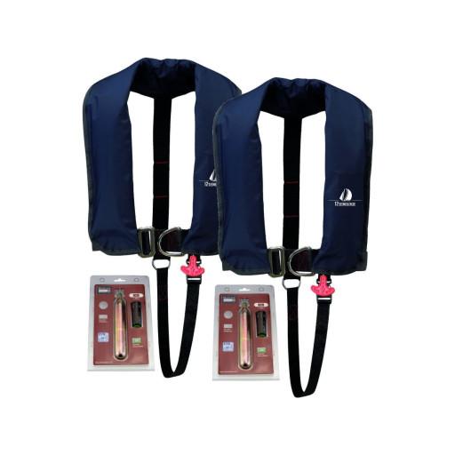 2er-Set 12skipper Automatik-Rettungsweste 300N ISO mit Harness, marineblau inkl. 2 Wartungskits