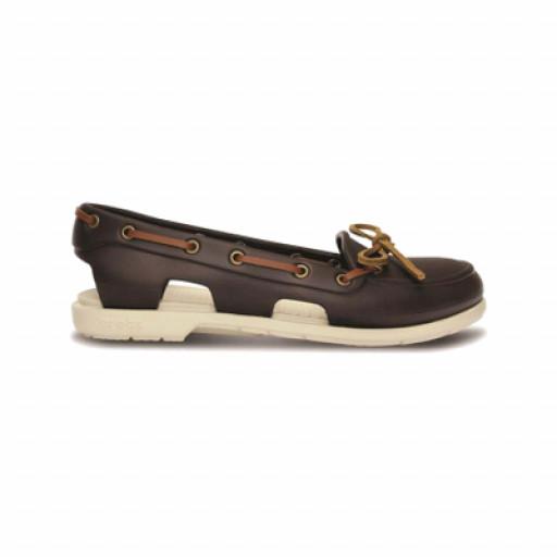 SALE: Crocs Beach Line Boat Shoe Bootsschuh Damen braun/creme-weiss