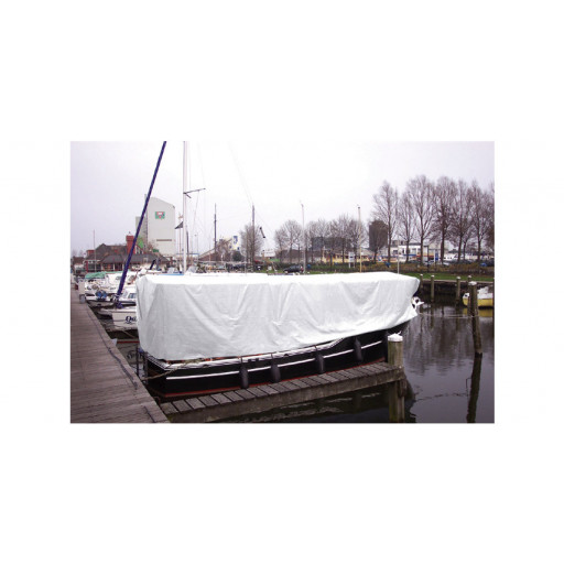 Abdeckplane weiß mit Ösen - 150g, 6x8 Meter