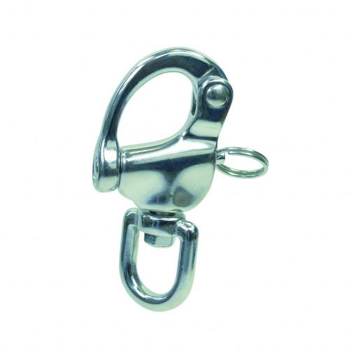 Edelstahl-Schnappschäkel mit Wirbelauge - Länge 70mm