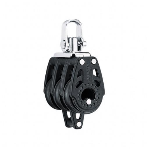 Harken 29mm Carbo Block - dreischeibig mit Wirbelschäkel und Hundsfott