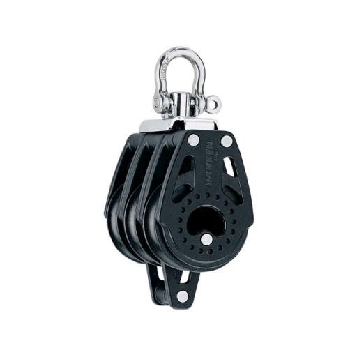 Harken 40mm Carbo Block - dreischeibig mit Wirbelschäkel und Hundsfott