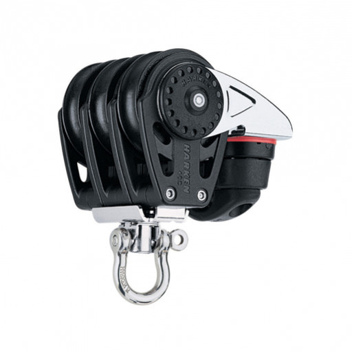 Harken 40mm Carbo Großschotblock - dreischeibig mit Wirbelschäkel und Klemme