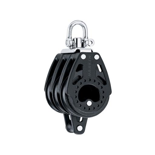 Harken 57mm Carbo Block - dreischeibig mit Wirbelschäkel und Hundsfott