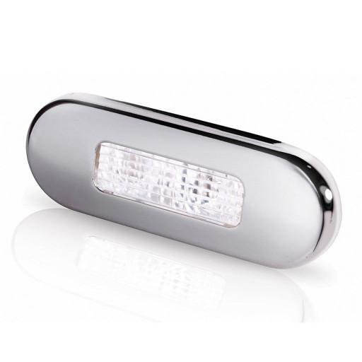 Hella Marine Serie 9680 LED Stufenleuchte - Lichtfarbe weiß, Gehäuse Edelstahl poliert