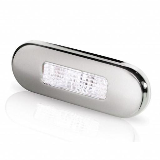 Hella Marine Serie 9680 LED Stufenleuchte - Lichtfarbe weiß, Gehäuse Edelstahl satiniert