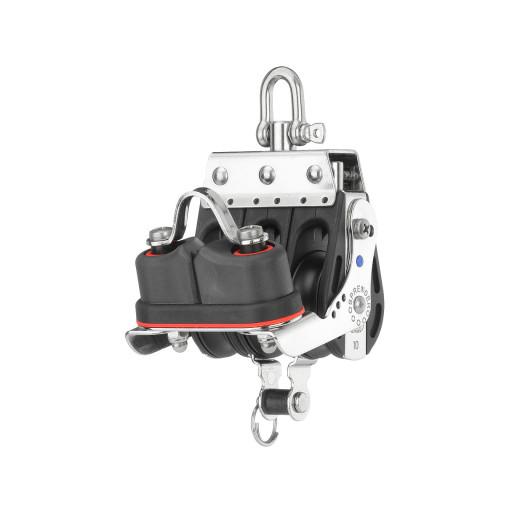 HS Sprenger S-Blockserie 10mm Großschotblock mit Nadellager - dreischeibig mit Wirbelschäkel, Hundsfott und Klemme