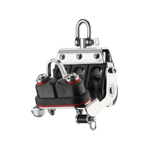 HS Sprenger S-Blockserie 8mm Großschotblock mit Nadellager - dreischeibig mit Wirbelschäkel, Hundsfott und Klemme