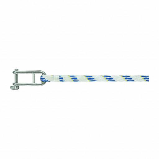 Liros Fall mit Fallschäkel - Liros Dynamic Plus, Dyneema, weiß-blau, 12mm, Länge 40m