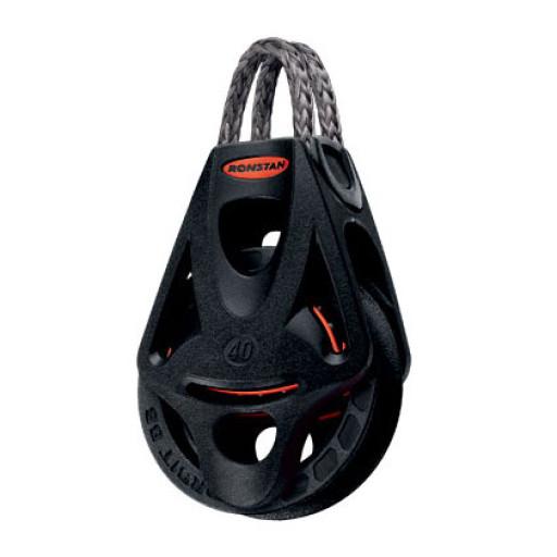 Ronstan Orbit Block Serie 40 BB - einscheibig mit Looptop und Hundsfott
