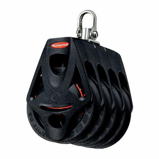 Ronstan Orbit Block Serie 55 BB - vierscheibig mit Wirbelschäkel und Hundsfott