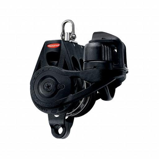 Ronstan Orbit Block Serie 55 RT - Großschotblock dreischeibig mit Wirbelschäkel, Hundsfott, Klemme, auto & manuell