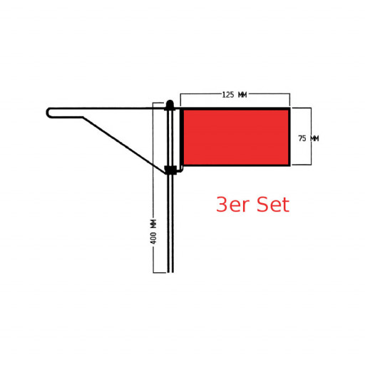 Roter Windfahnen-Verklicker - Standard - 3er Set
