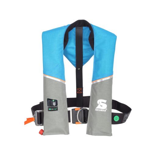 Secumar Ultra 170 Harness Automatik-Rettungsweste 165N mit Lifebelt, hellblau-grau