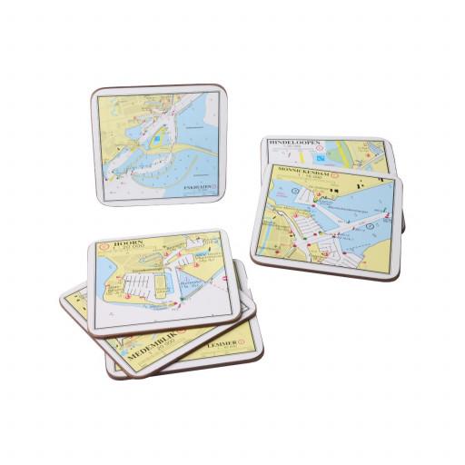 Untersetzer mit Seekartenmotiv im 6er Pack - Maße 10,5 x 10,5cm