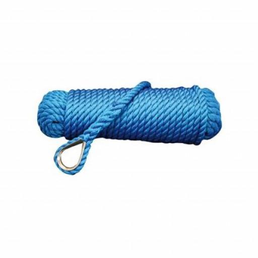 Talamex Ankerleine mit Kausche - blau, Durchmesser 12mm, Länge 30m