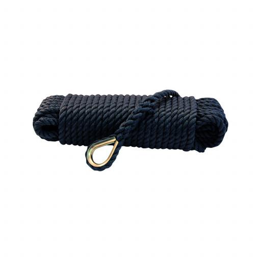Talamex Ankerleine mit Kausche – schwarz, Durchmesser 10mm, Länge 20m