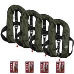 4er-Set 12skipper Automatik-Rettungsweste 165N ISO mit Harness, olive inkl. 4 Wartungskits