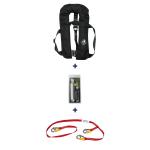 Set: 12skipper Automatik-Rettungsweste 300N ISO Harness schwarz mit Marinepool Lifeline und Wartungskit