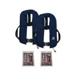 2er-Set 12skipper Automatik-Rettungsweste 165N ISO mit Harness, marineblau inkl. 2 Wartungskits