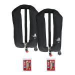 2er-Set 12skipper Automatik-Rettungsweste 165N ISO mit Harness, schwarz inkl. 2 Wartungskits