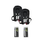 DEAL: 2er-Set 12skipper Premium Automatik-Rettungsweste 300N ISO mit Harness, Sprayhood und SOLAS-Leuchte, schwarz inkl. 2 Wartungskits