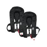 DEAL: 2er-Set 12skipper Premium Automatik-Rettungsweste 300N ISO mit Harness, Sprayhood und SOLAS-Leuchte, schwarz