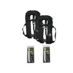 2er-Set 12skipper Automatik-Rettungsweste 300N ISO mit Harness, schwarz inkl. 2 Wartungskits