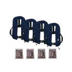 4er-Set 12skipper Automatik-Rettungsweste 165N ISO mit Harness, marineblau inkl. 4 Wartungskits