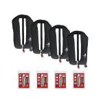 4er-Set 12skipper Automatik-Rettungsweste 165N ISO mit Harness, schwarz inkl. 4 Wartungskits