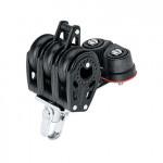 Harken 29mm Carbo Großschotblock - dreischeibig mit Wirbelschäkel, Hundsfott und Klemme