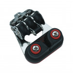 HS Sprenger Micro XS Großschotblock 6mm - dreischeibig mit festem Bügel, Hundsfott  und Klemme