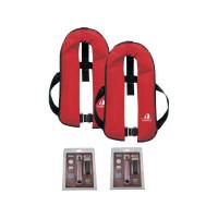 2er-Set 12skipper Automatik-Rettungsweste 165N ISO mit Harness, rot inkl. 2 Wartungskits
