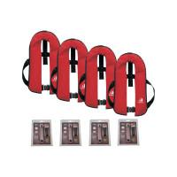4er-Set 12skipper Automatik-Rettungsweste 165N ISO mit Harness, rot inkl. 4 Wartungskits