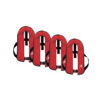 4er-Set 12skipper Automatik-Rettungsweste 165N ISO mit Harness, rot