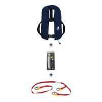 DEAL: Set aus 12skipper Automatik-Rettungsweste 300N ISO Harness marineblau mit Marinepool Lifeline und Wartungskit