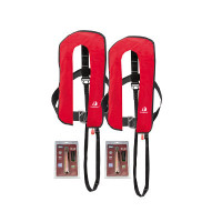 2er-Set 12skipper Automatik-Rettungsweste 300N ISO mit Harness, rot inkl. 2 Wartungskits