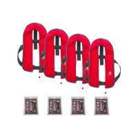 4er-Set 12skipper Automatik-Rettungsweste 165N ISO, rot inkl. 4 Wartungskits