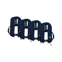 4er-Set 12skipper Automatik-Rettungsweste 165N ISO mit Harness, marineblau