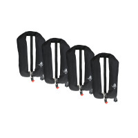 4er-Set 12skipper Automatik-Rettungsweste 165N ISO mit Harness, schwarz