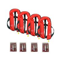 4er-Set 12skipper Rettungsweste 165N ISO mit manueller Auslösung, rot inkl. 4 Wartungskits