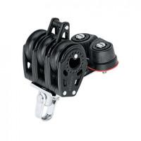 Harken 40mm Carbo Großschotblock - dreischeibig mit Wirbelschäkel, Hundsfott und Klemme