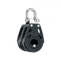 Harken 40mm Carbo Block - zweischeibig mit Schäkel, 90° bewegbar