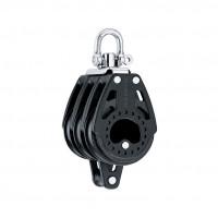 Harken 75mm Carbo Block - dreischeibig mit Wirbelschäkel und Hundsfott
