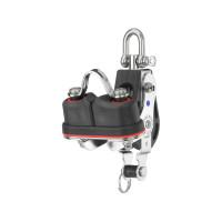 HS Sprenger S-Blockserie 10mm Großschotblock mit Nadellager - einscheibig mit Wirbelschäkel, Hundsfott und Klemme